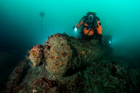 Diver examines cannon on seabed