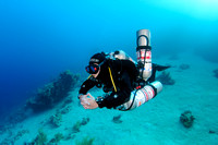 Technical diver with stage cylinders